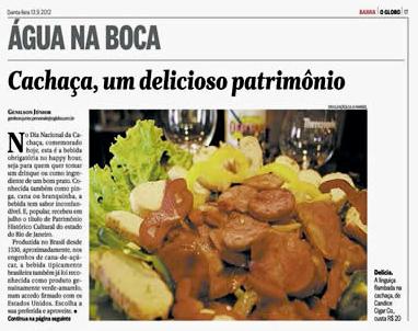 Jornal O Globo Barra - Água na Boca - Cachaça, um delicioso patrimônio - Candice Cigar Co