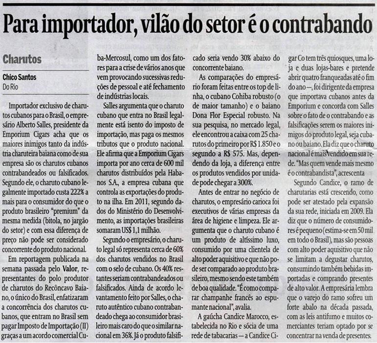 Jornal Valor Econômico - Empresas - Candice Cigar Co