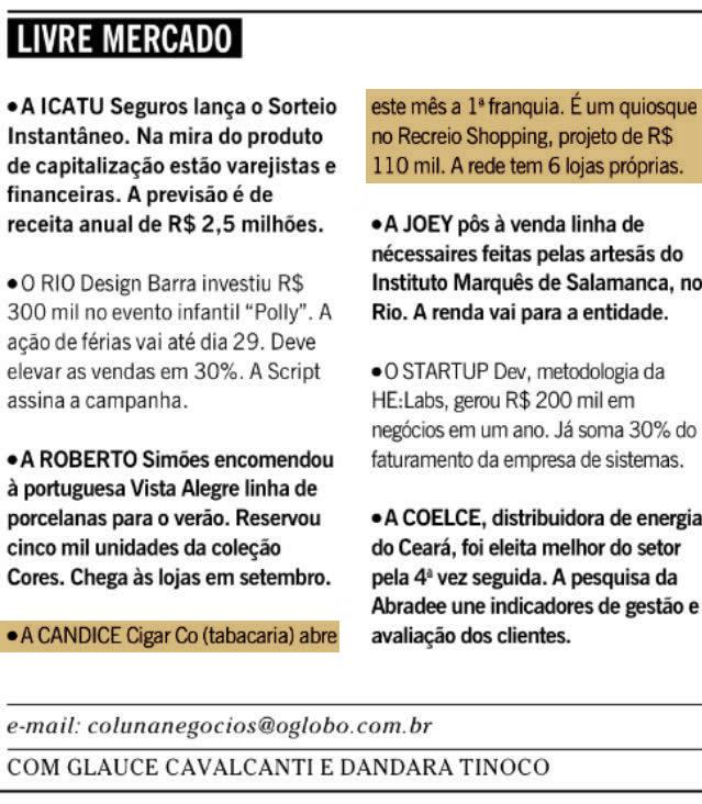 O Globo - Coluna Negócios - Candice Cigar Co